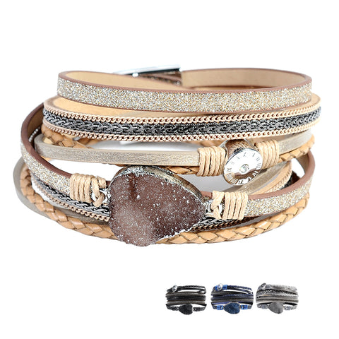 Women's Leather Charm Multi-Layer Bracelet