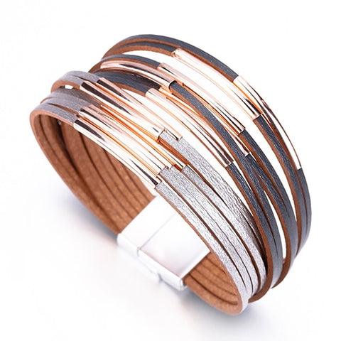 Two Tone Multi-layer Leather Bracelet - Across The Way