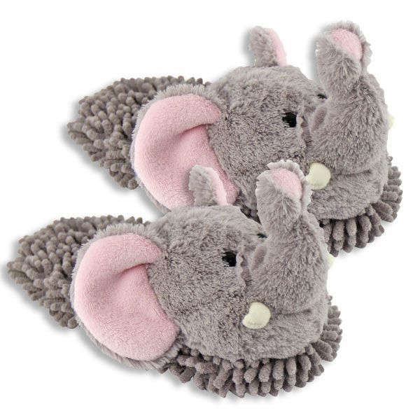 Fuzzy Friend Slippers Elephant