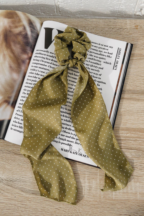 Olive Polka Dot Long Scrunchie