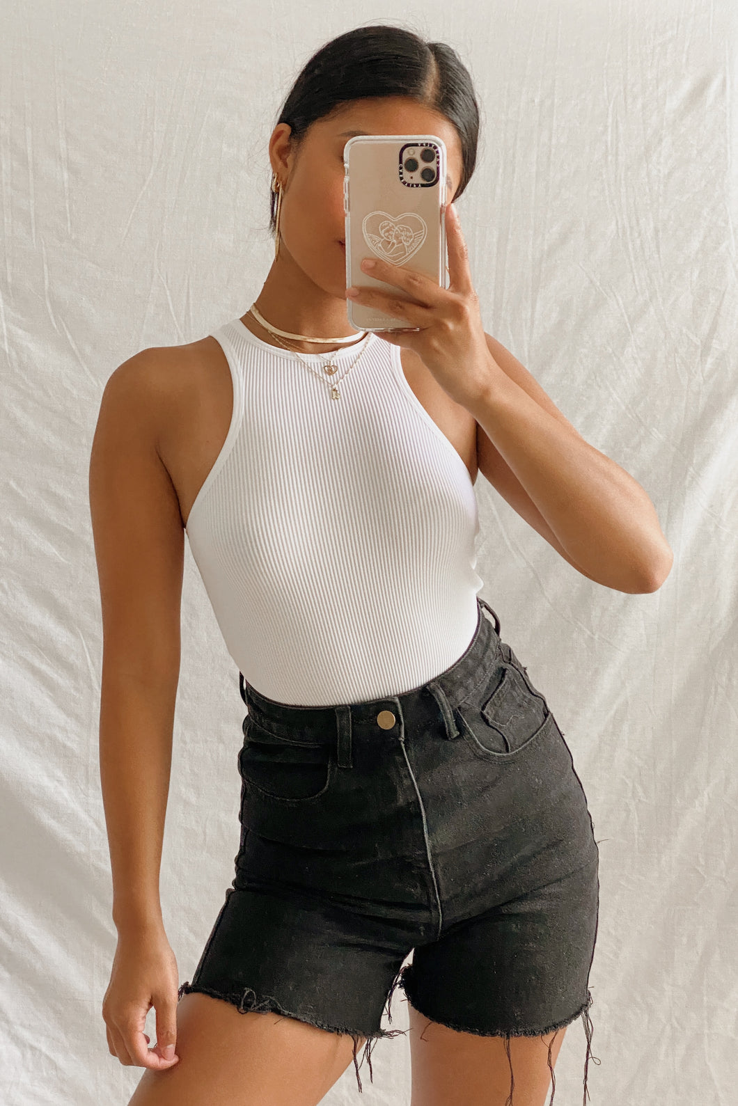 Basic Ribbed Bodysuit – White