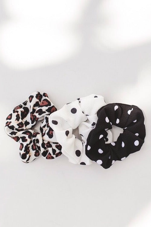 Leopard + Polka Dot Scrunchies (3 Pack)