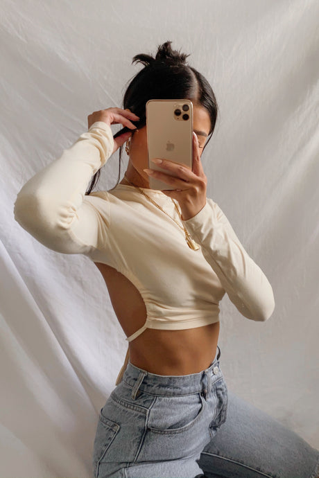 Say My Name Crop Top – Cream