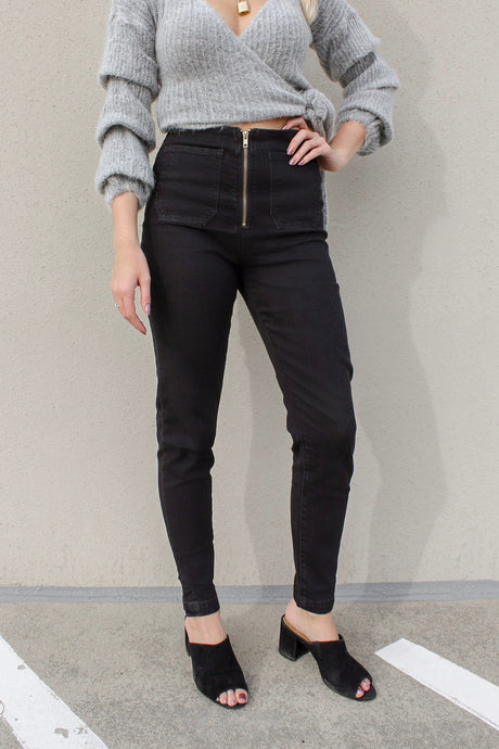 Farrah High Waisted Skinny Zip Jeans