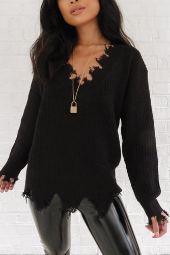 Hayden Frayed Sweater – Black