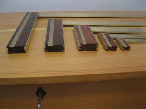 "Try Squares, 2"" to 14"", cocobolo and brass"