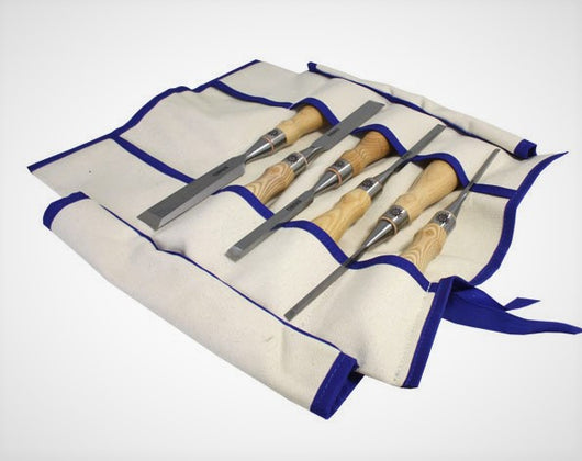 Narex Richter Six  Piece Chisel set in Canvas Tool Roll available from Canadian Distributor Northwest Passage Tools