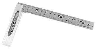 Shinwa 150 mm stainless steel try square with metric graduations from Northwest Passage Tools