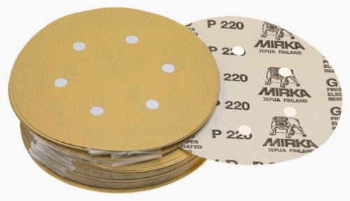 "Mirka 23-624-060 6"" 6-Hole 60 Grit Dustless Hook & Loop Sanding Discs - 50 Pack"
