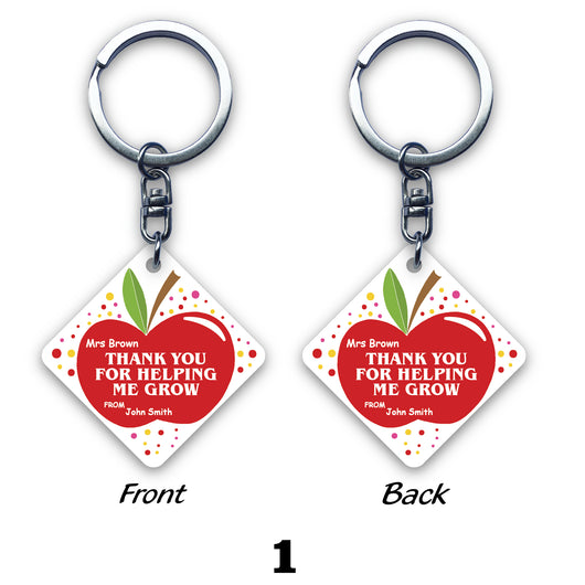 Teacher Square Key Ring (2-sided print)