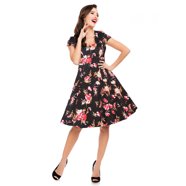 Claudia Flirty Fifties Style Dress in Black Floral