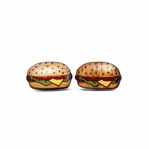 Fast Food - Burger Earrings (Painted)