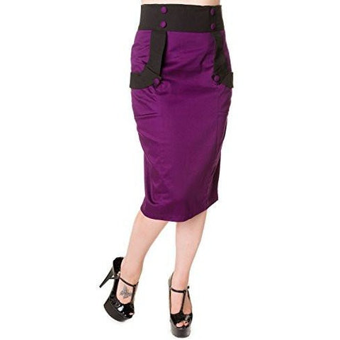 Black Purple Retro Pencil Skirt