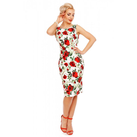 Naomi Floral Rose Scoop Back Pencil Dress in White/Red