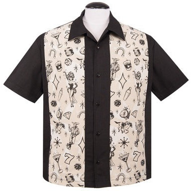 Vegas Lights Panel Button Up in Black
