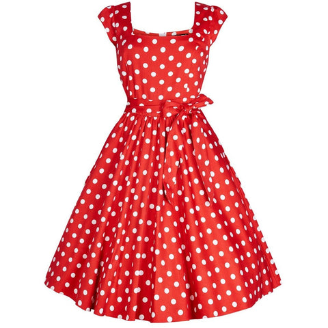 Classic 1950s Swing Dress - Red Polka Dot