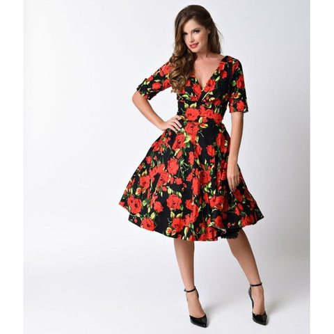 1950s Style Black & Red Rose Half Sleeve Delores Swing Dress