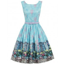 'Annie' Blue Paris City Print Swing Dress