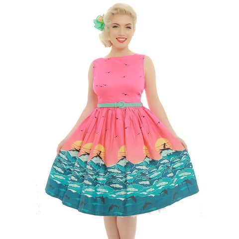 'Audrey' Pink Surf Print Swing Dress