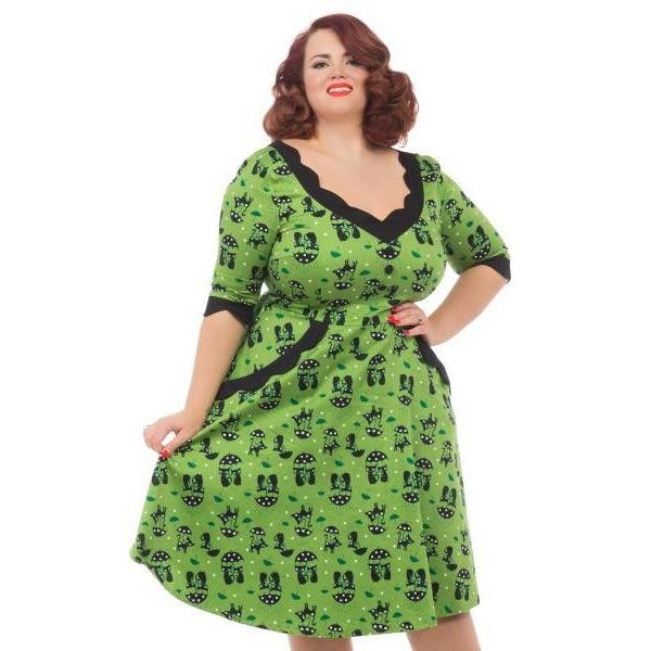 Katnis Green Cat in the Rain Dress