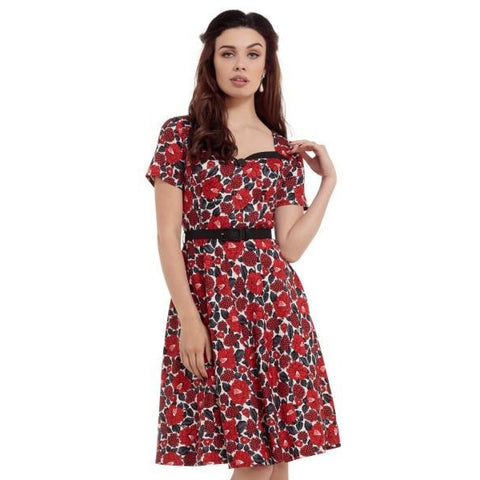 Poppy Red Floral Skater Dress