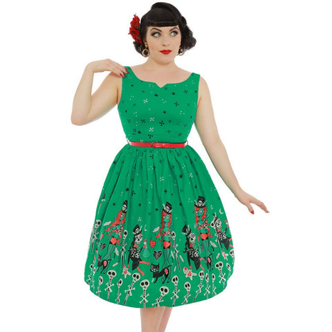 'Delta' Green Witch Doctor Print Swing Dress