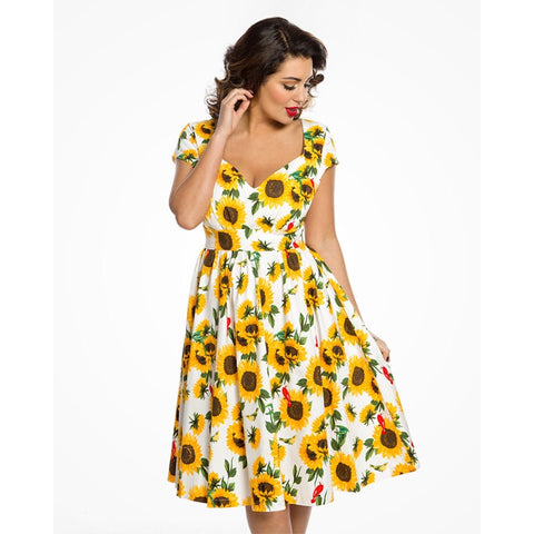 'Charlene' Sunflower Print Swing Dress