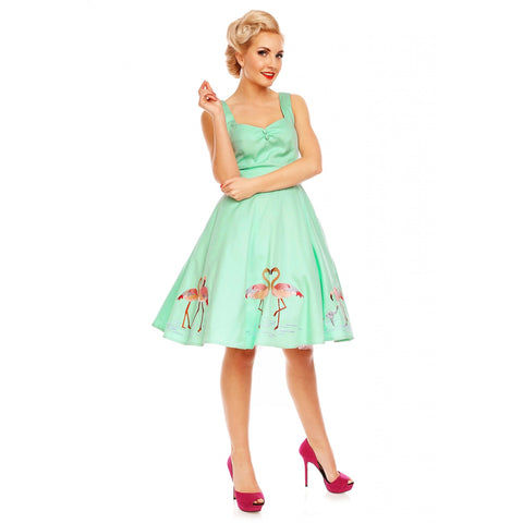 Natalie Retro Swing Dress in Green - Flamingo Love Story Embroidery