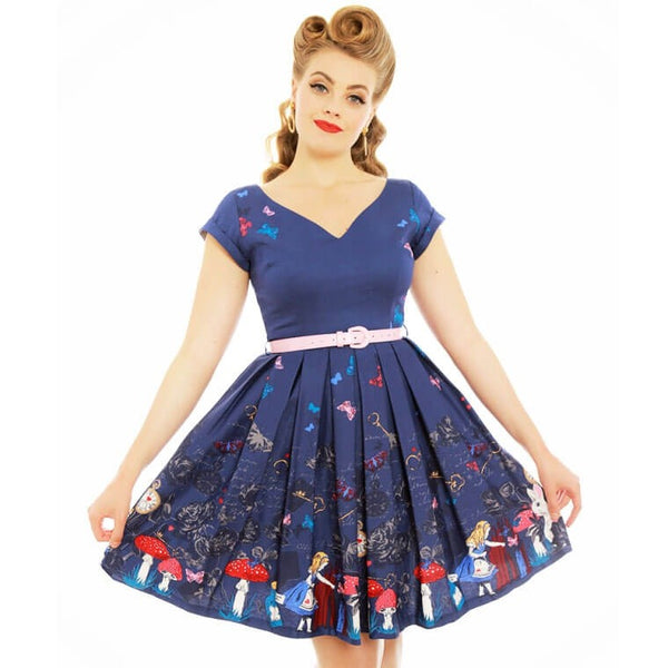 'Aria' Purple Alice In Wonderland Print Swing Dress