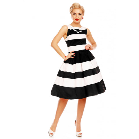 Aurora Striped Two Tone Dress in Black/White