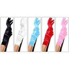 Wrist Length Satin Gloves - Light Pink