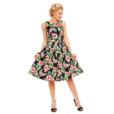 Annie Retro Floral Swing Dress in Black Orchid