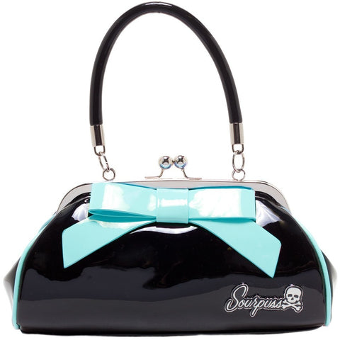 FLOOZY PURSE BLACK W/ LIGHT BLUE BOW