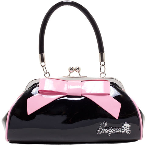 SOURPUSS FLOOZY PURSE BLACK W/ LIGHT PINK BOW