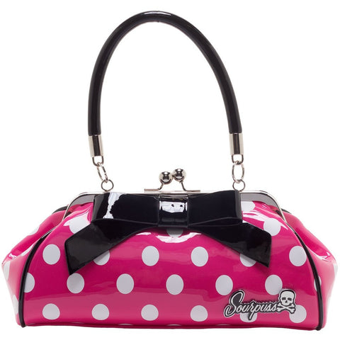 FLOOZY PURSE PINK/WHITE POLKA DOTS