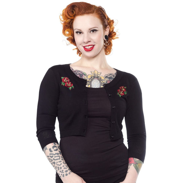 SOURPUSS TATTOO ROSES 3/4 SLEEVE POINTELLE CARDIGAN