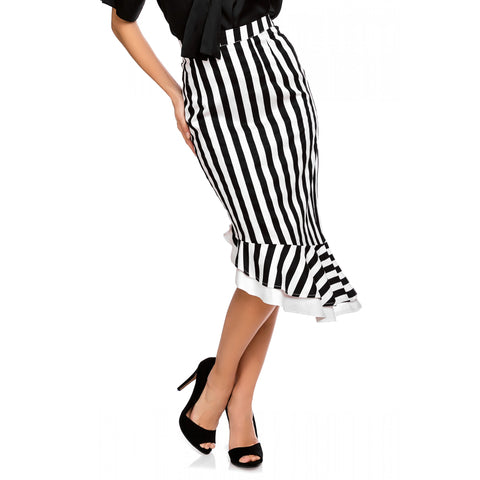 Madison 50's Style Ruffle Skirt in Black/White