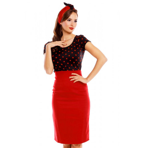 Gina Polka Dot Cut Out Retro Top in Black/Red