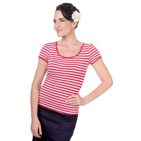 Gina Vintage Rockabilly Stripe Top in Red
