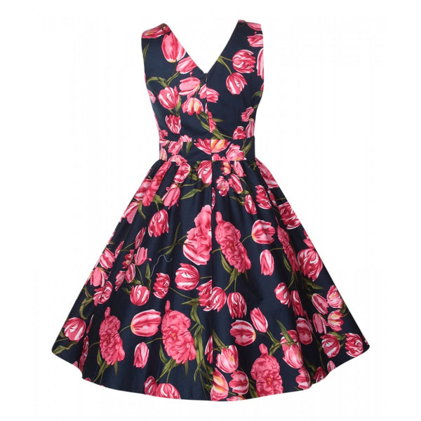 May V-neck Tulip Floral Swing Dress in Navy/Pink