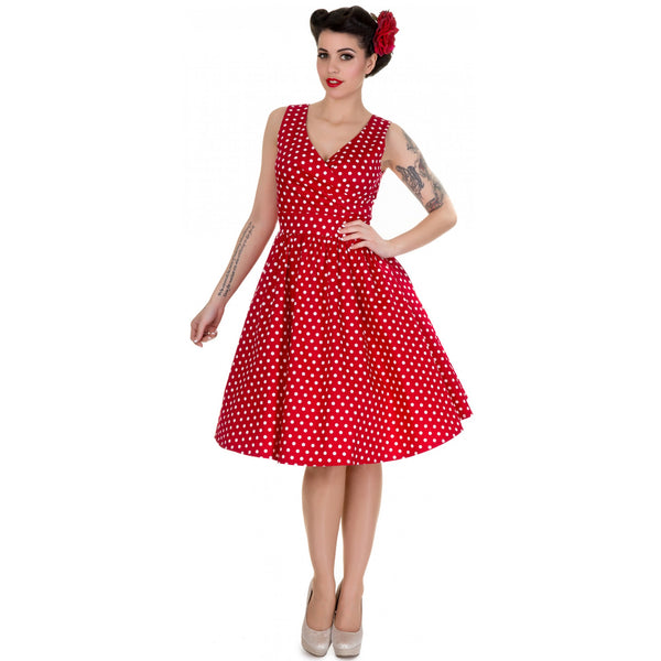 May V-neck 50's Style Swing Dress in Red Polka