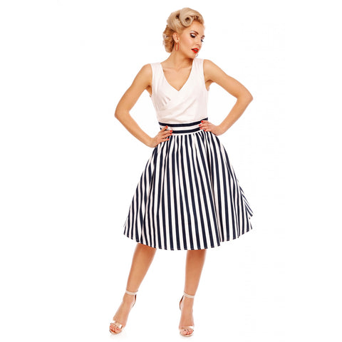 May V-neck 50's Style Swing Dress in White & Blue Striped - Size 10 Last One!