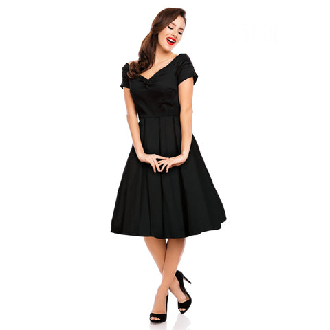 Lily Off Shoulder 50's Inspired Evening Dress in Black
