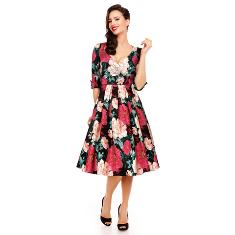 Katherine Swing Dress With Three Quarter Length Sleeves in Pink/Gold Floral