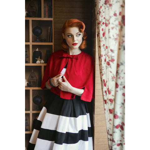 Sabrina Vintage Comfy Cape Shrug in Red