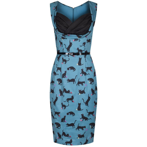 'Vanessa' Green Cats with Wool Print Wiggle Dress