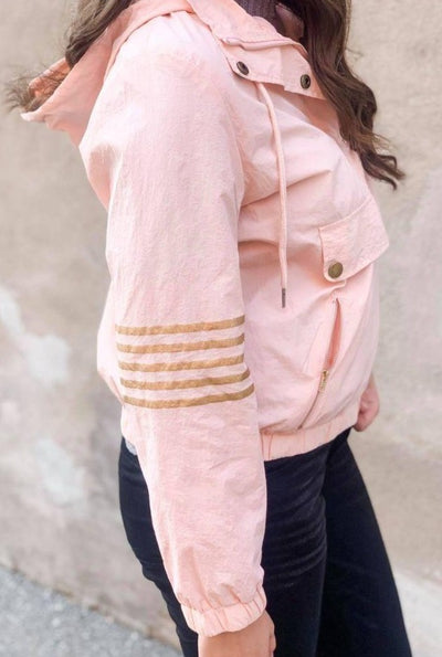 Blush Gold Striped Pullover Jacket