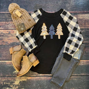 Sequin Tree Plaid Top