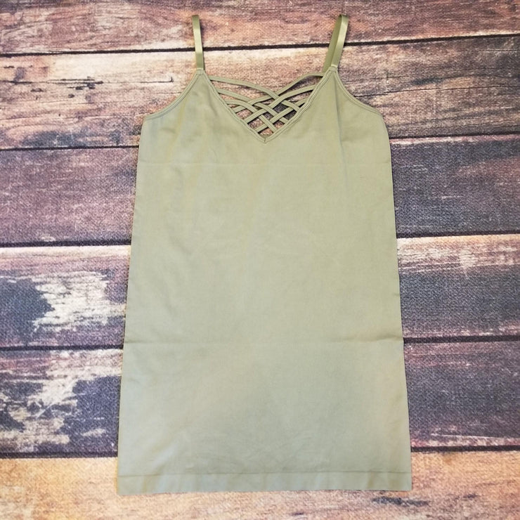 Lattice Front Cami- Light Olive