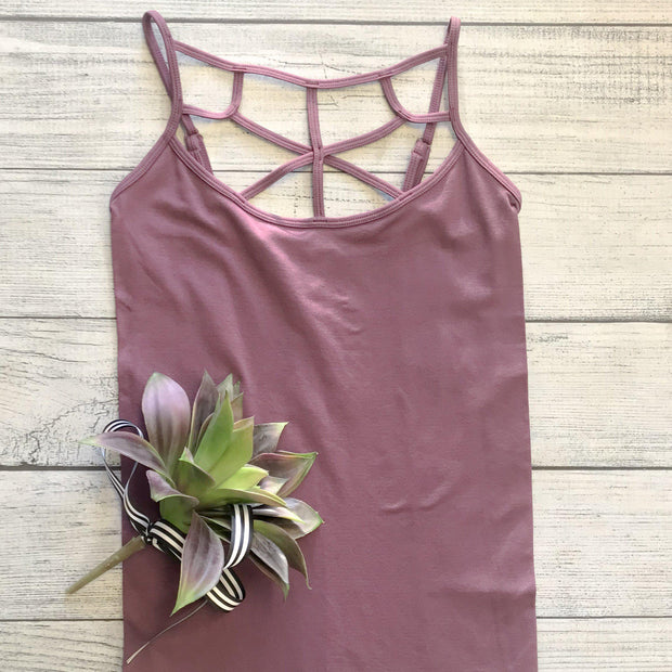 High Neck Lattice Tank - Eggplant
